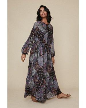 Womens Patched Print Tie Neck Midi Dress