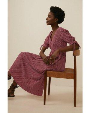Womens Checked Textured Jersey Midi Dress