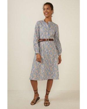 Womens Blue Ditsy Print Cotton Shirt Dress