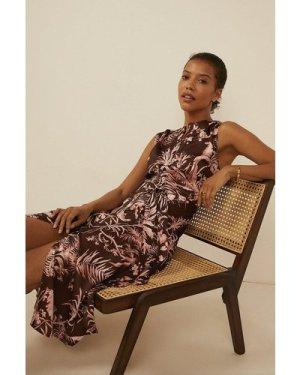 Womens Tropical Sleeveless Shirt Dress