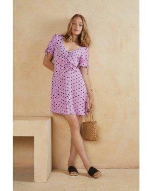 Womens Polka Dot Tie Sleeve Tea Dress