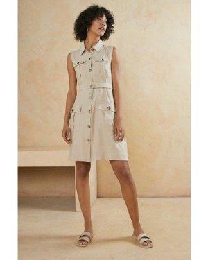 Womens Button Through Linen Look Tailored Skater Dress
