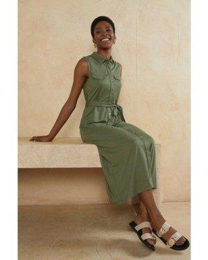 Womens Pique Sleeveless Belted Midi Shirt Dress