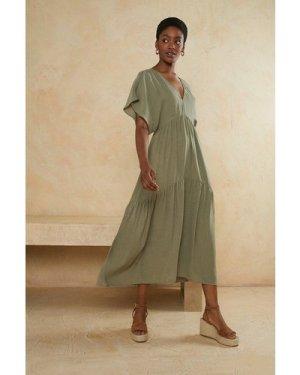 Womens V Neck Tie Back Midi Smock Dress