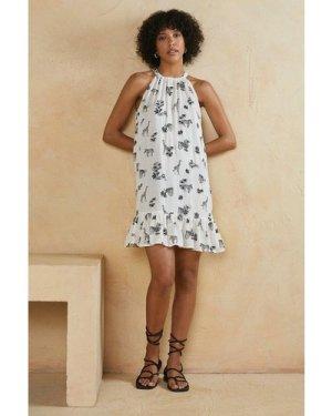 Womens Safari Print Swing Dress