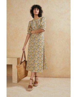 Womens Floral Printed Puff Sleeve Midi Dress