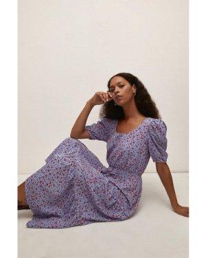 Womens Textured Tiered Ditsy Midi Dress
