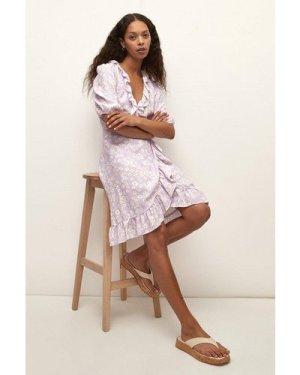 Womens Ditsy Printed Ruffle Wrap Skater Dress