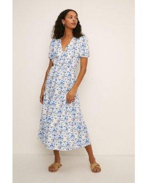 Womens Rose Button Textured Midi Dress