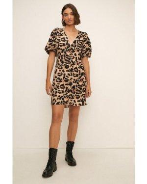 Womens Animal Print Puff Sleeve Mini Dress