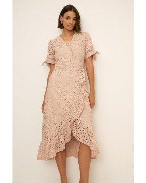 Womens Broderie Wrap Dress