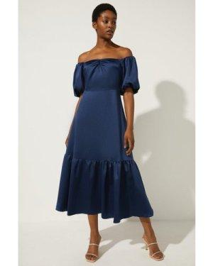 Womens Bardot Ruched Front Midi Dress