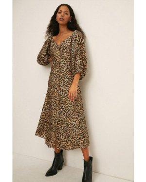 Womens Button Front  Lyocell Silk Mix Dress