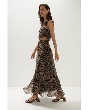 Womens  Printed Ruffle Cut Out Maxi Dress