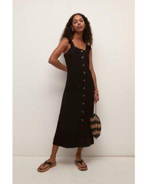 Womens Pique Button Through Midi Dress