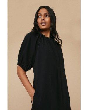 Womens Puff Sleeve Tailored Dress