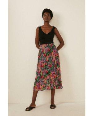 Womens Floral Pleated Midi Skirt