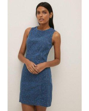 Womens Leopard Print Denim Mini Dress