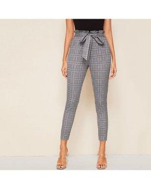 Glen Plaid Belted Paperbag Skinny Pants