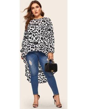 Plus Dip Hem Leopard Print Blouse