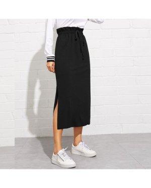 Paperbag Waist Split Hem Skirt