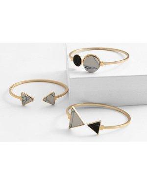 Triangle & Round Cuff Bracelet 3pcs