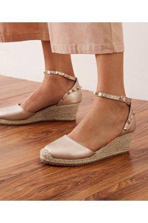 Studded Decor Ankle Strap Espadrille Wedges