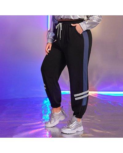Plus Striped Side Drawstring Sweatpants