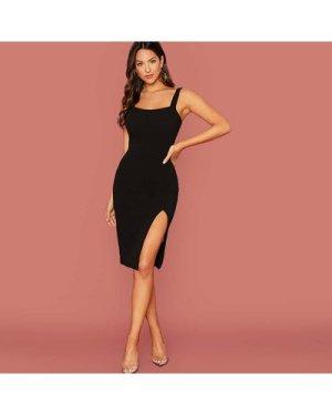 Slit Knee-Length Bodycon Dress