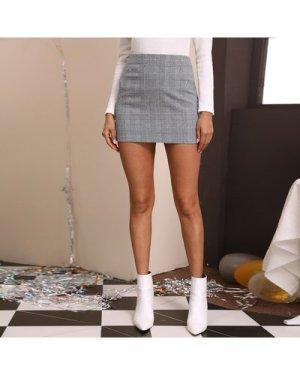 Tartan Print Mini Straight Skirt