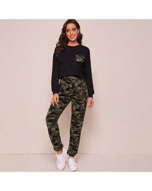 Drop Shoulder Camo Print Patch Pocket Pullover & Joggers Set