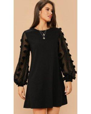 3D Applique Bishop Sleeve Dress