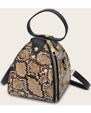 Snakeskin Pyramid Satchel Bag