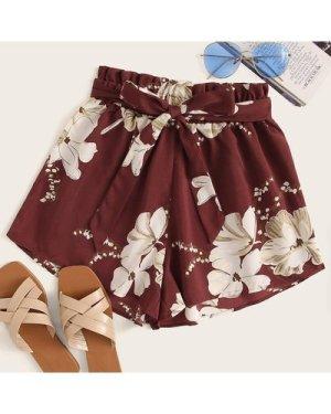 Floral Belted Paperbag Waist Shorts