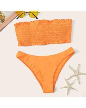 Frilled Trim Knot Back Smocked Bikini Set