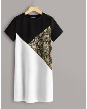 Snakeskin Colorblock Tee Dress