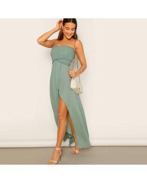 Frill Trim Shirred Slit Hem Tube Dress