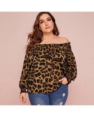 Plus Off Shoulder Leopard Print Blouse