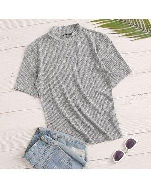 Mock-Neck Rib-knit Short Sleeve Top