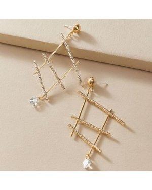 1pair Rhinestone Decor Geometric Drop Earrings