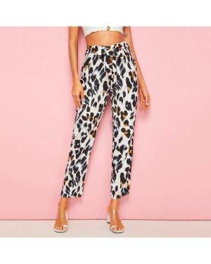 Leopard Tie Front Pants