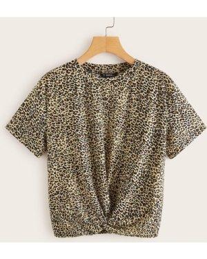Twist Hem Leopard Tee
