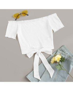 Off Shoulder Tie Hem Rib-knit Top