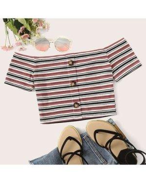 Button Front Rib-knit Striped Bardot Crop Tee