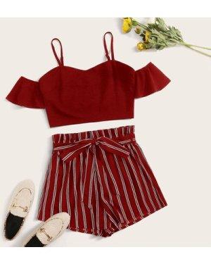 Cold Shoulder Ruffle Trim Top & Paperbag Waist Belted Striped Shorts Set