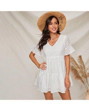 Bell Sleeve Flounce Hem Schiffy Dress