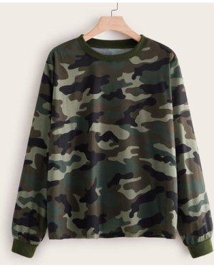 Plus Camo Print Round Neck Sweatshirt