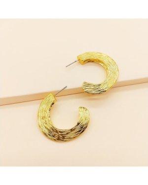 1pair Textured Cuff Hoop Earrings