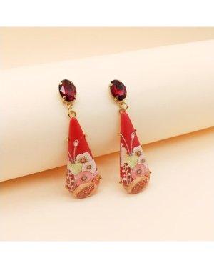 1pair Flower Pattern Water Drop Earrings