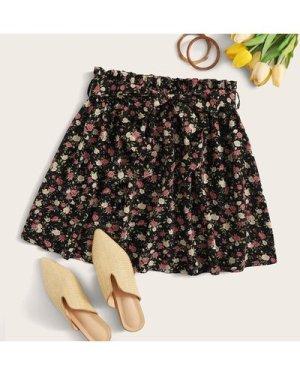 Paperbag Waist Belted Ditsy Floral Skater Skirt